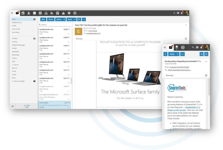 Smartermail Webmail interface